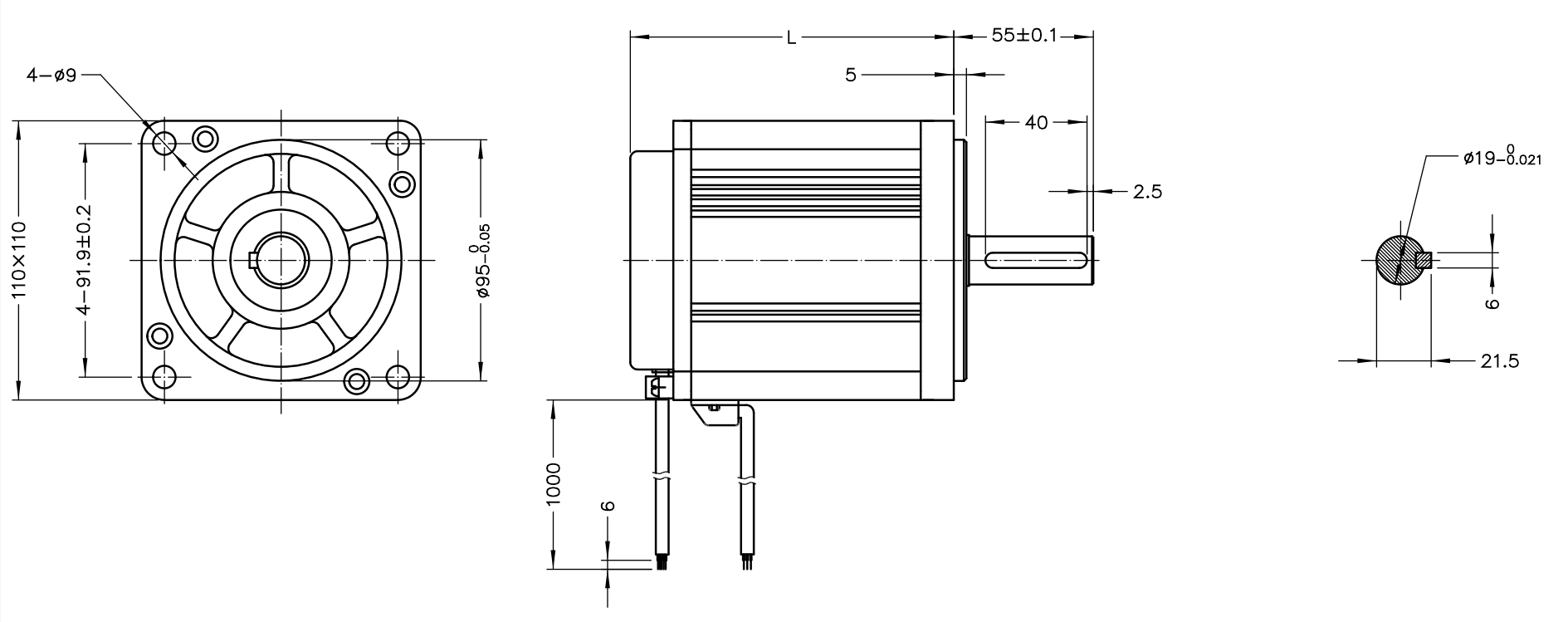 NEMA 43 BLDC Motor Drawing