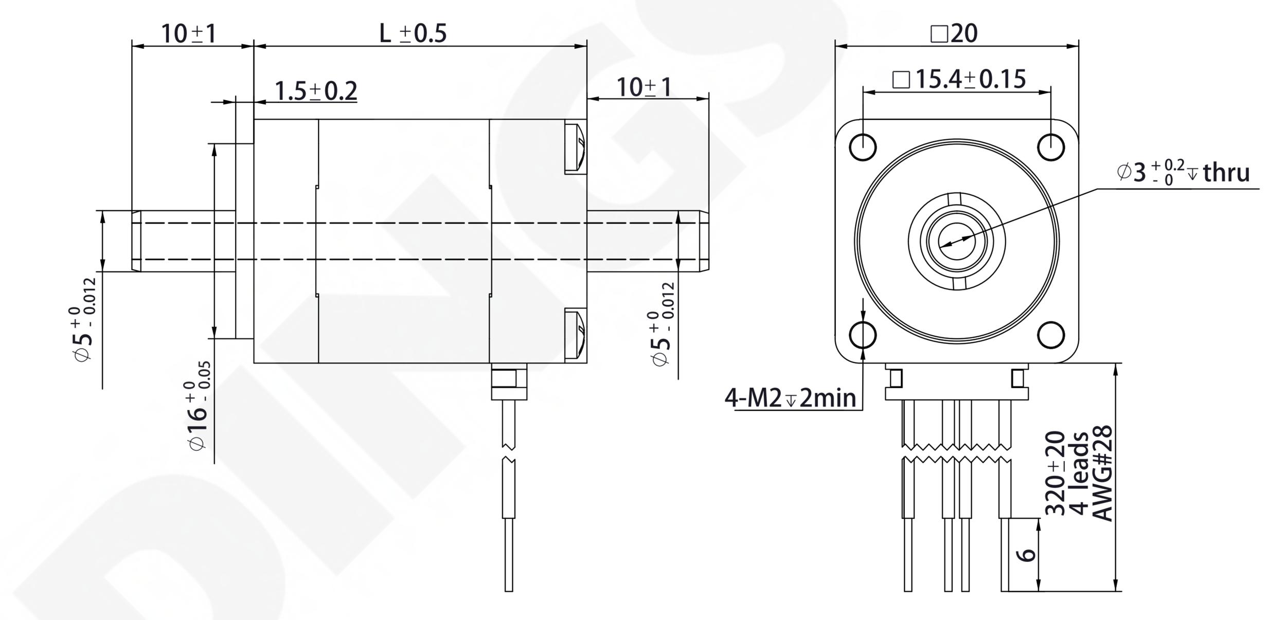 NEMA 8 Hollow Shaft Motor Drawing