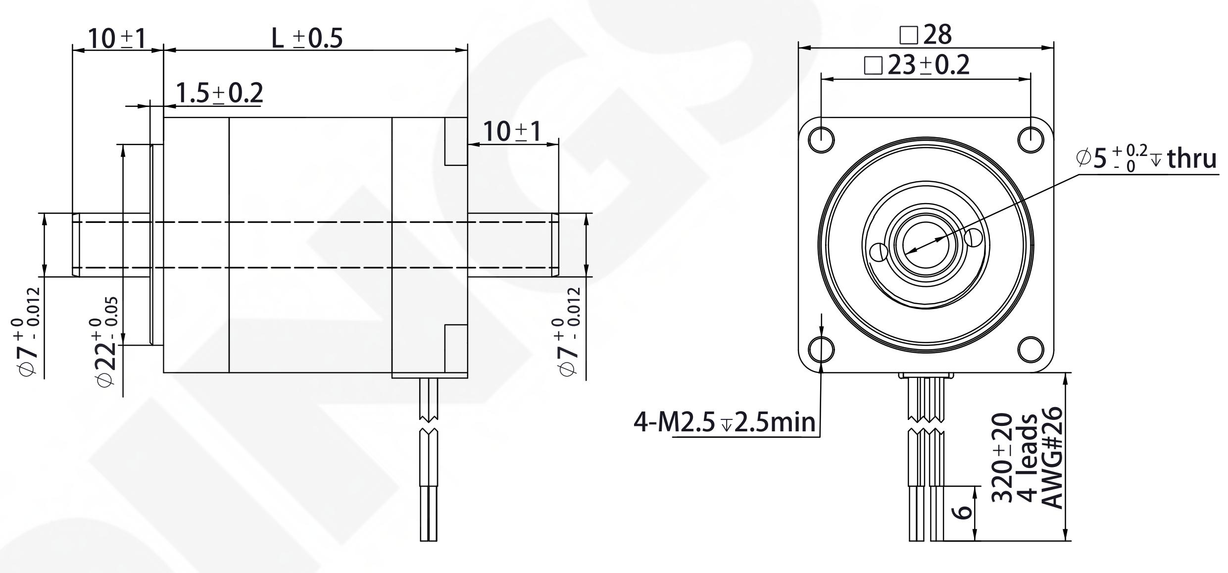 NEMA 11 Hollow Shaft Motor Drawing