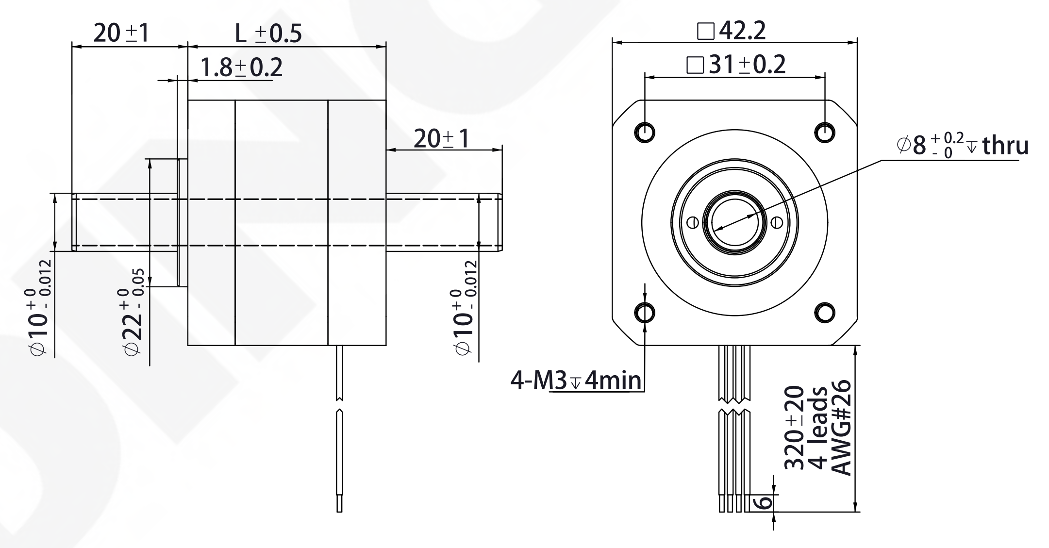 NEMA 17 Hollow Shaft Motor Drawing
