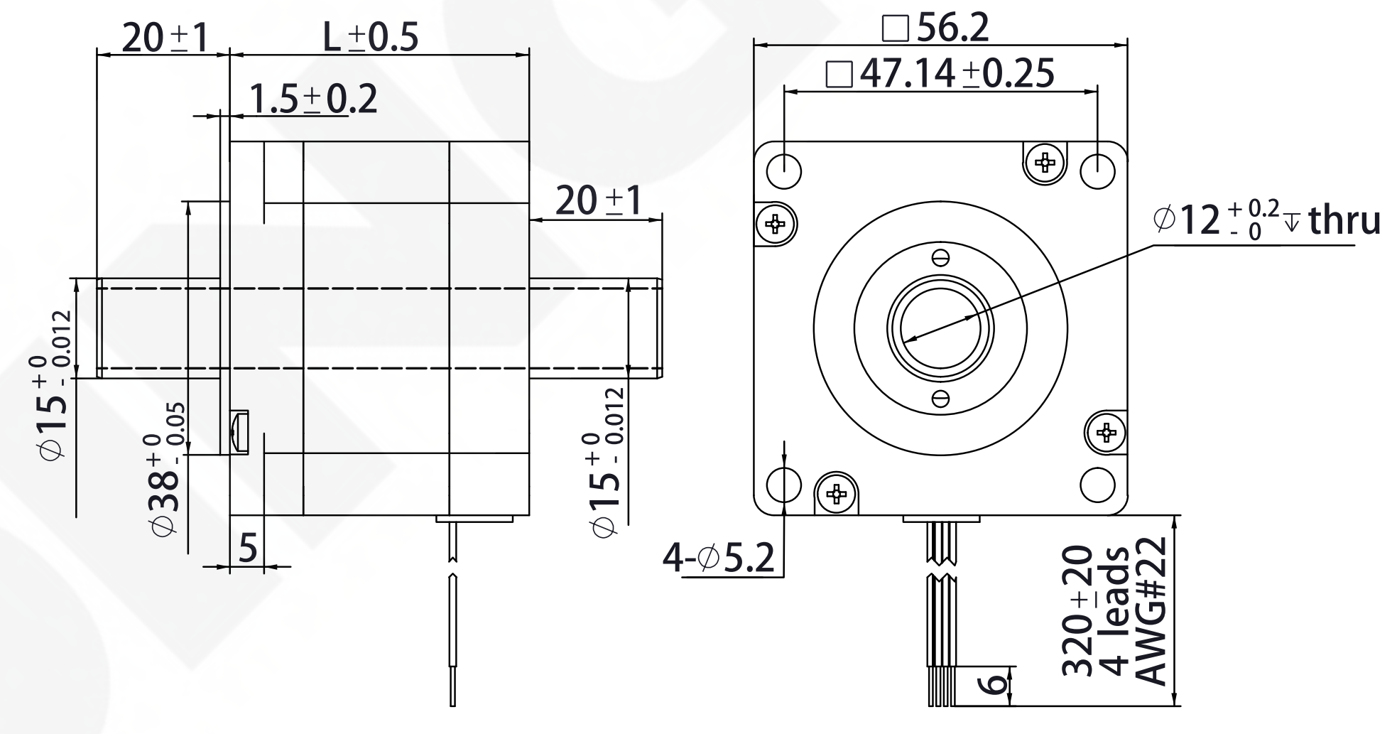 NEMA 23 Hollow Shaft Motor Drawing