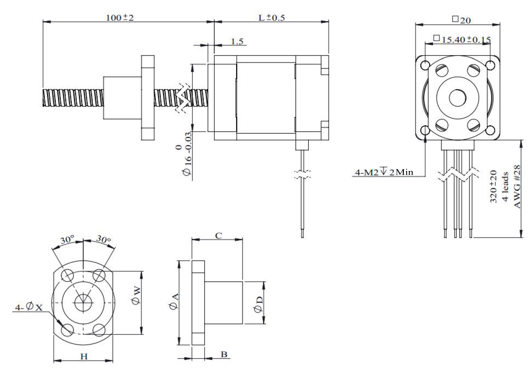 NEMA 8 Ball Screw Actuator Drawing