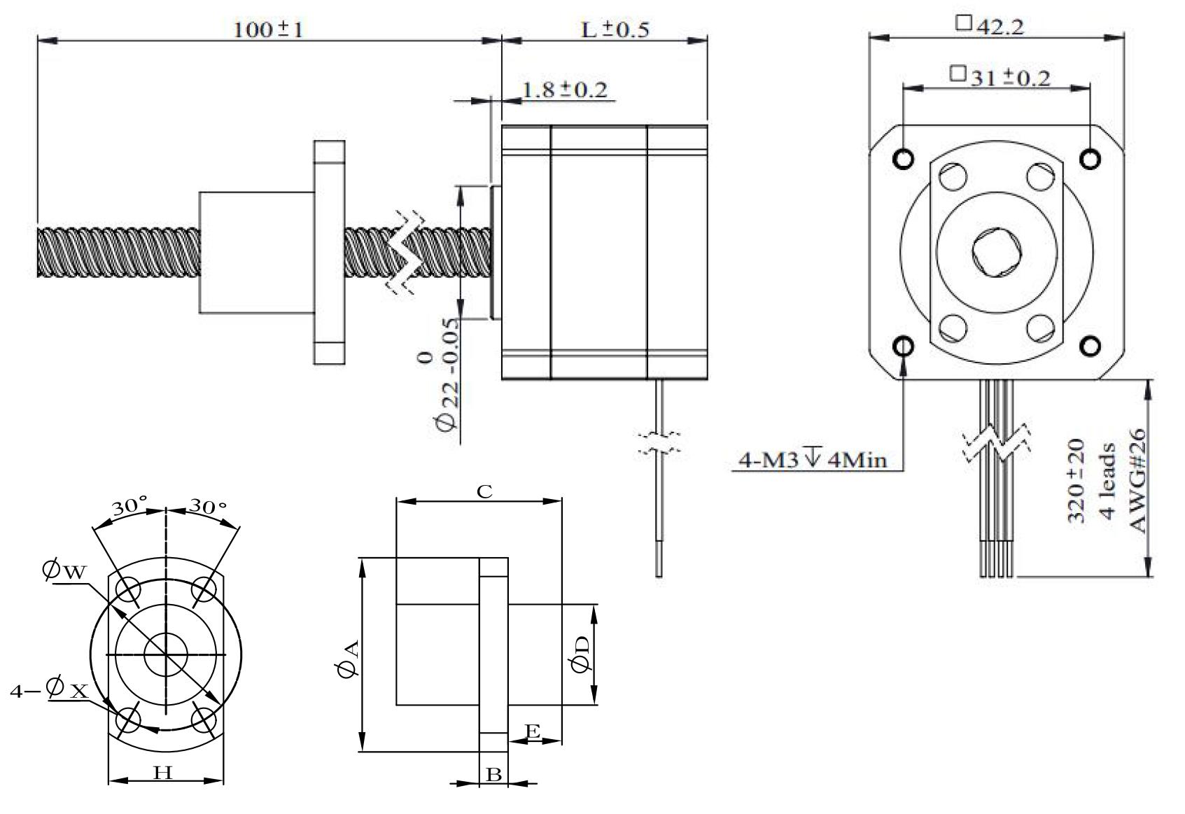 NEMA 17 Ball Screw Actuator Drawing