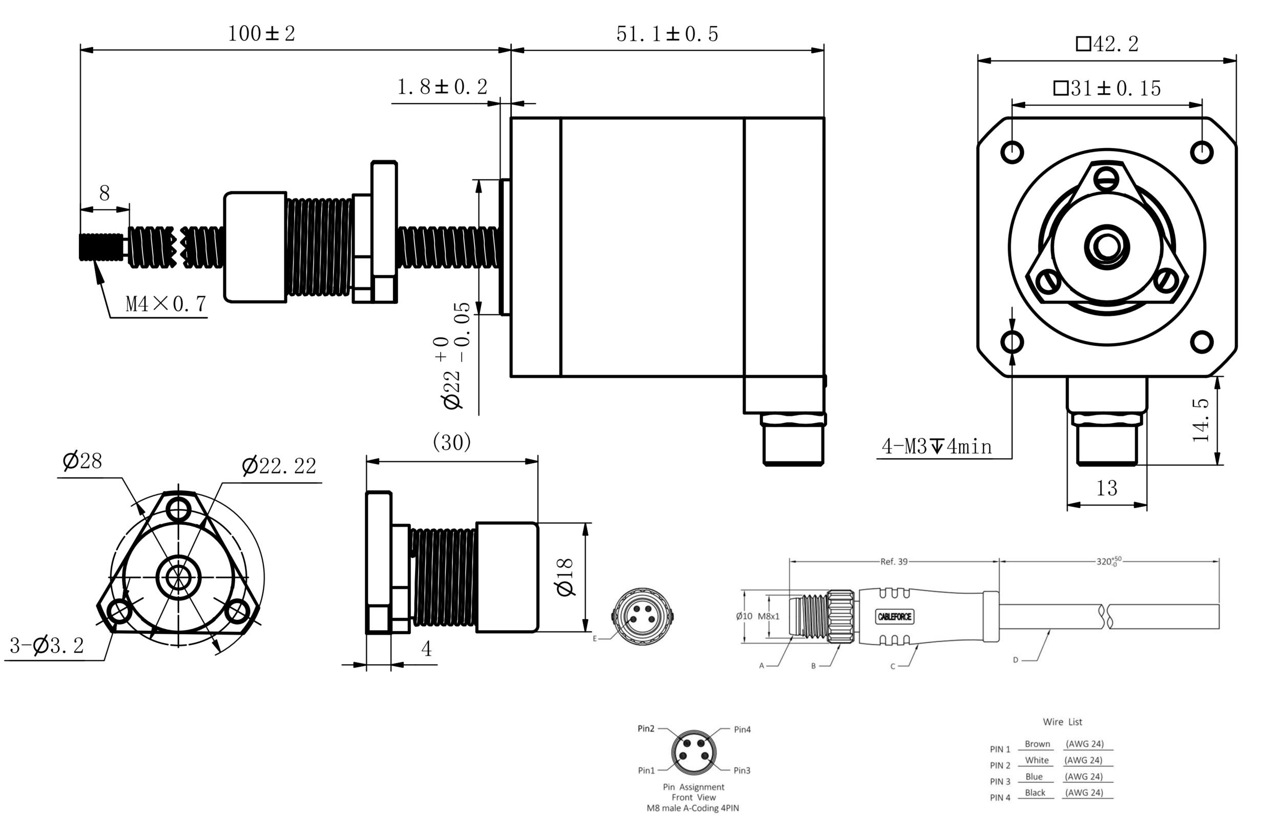 NEMA 17 IP54 External Linear Actuator Drawing