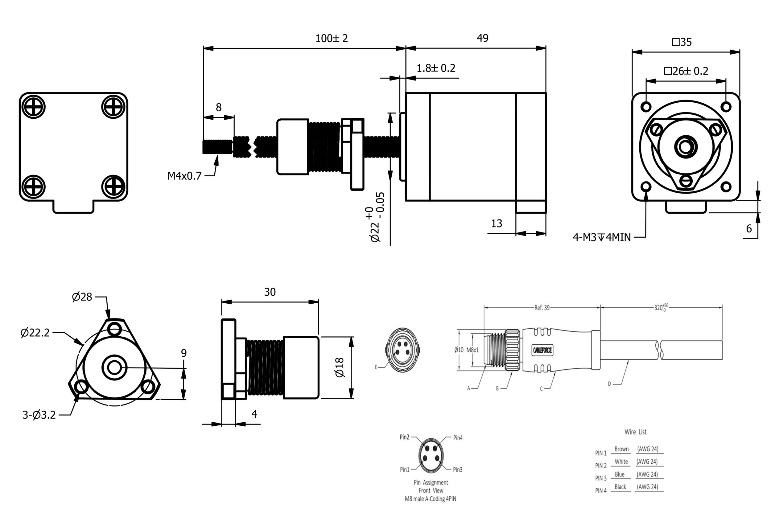 NEMA 14 IP54 External Linear Actuator Drawing