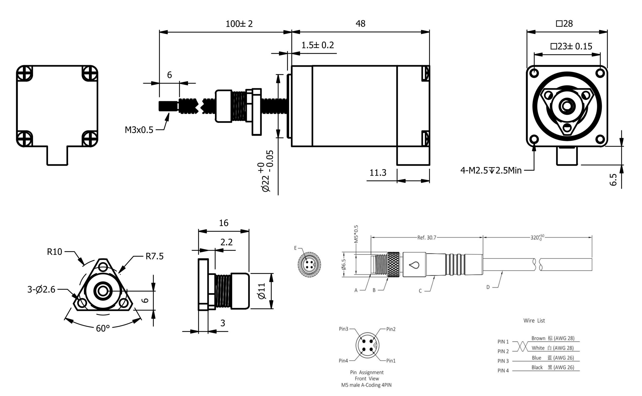 NEMA 11 IP54 External Linear Actuator Drawing