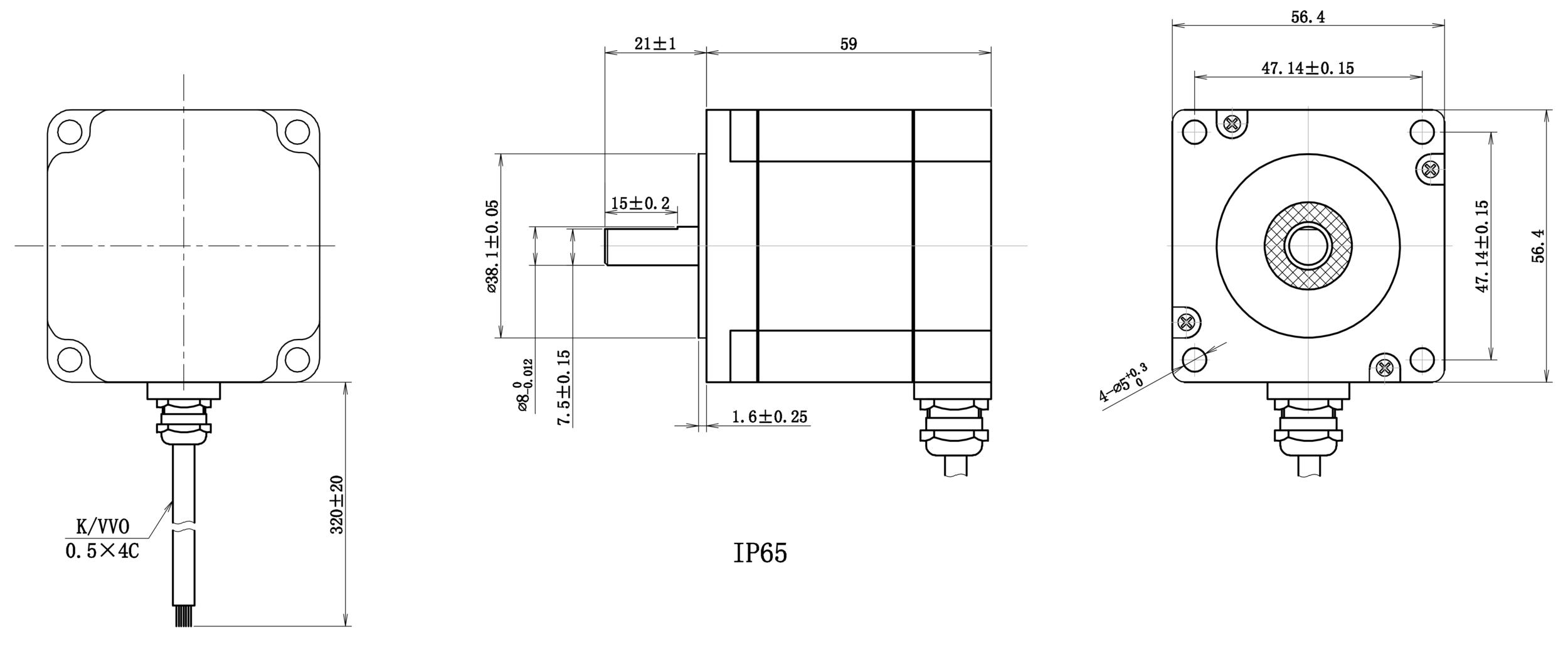 NEMA 23 IP65 Rotary Stepper Motor Drawing