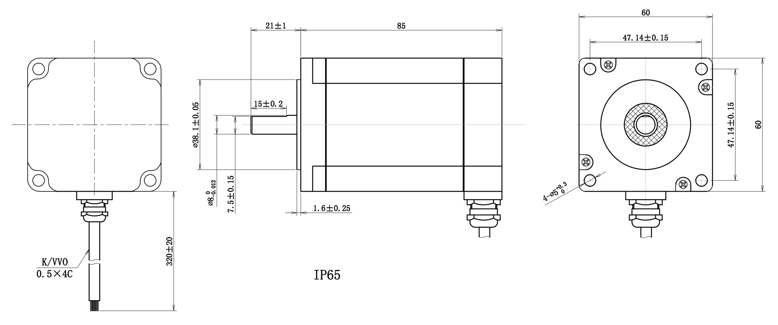 NEMA 24 IP65 Rotary Stepper Motor Drawing