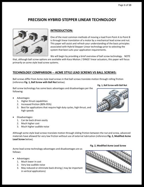 linear actuators whitepaper