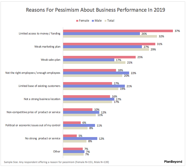 SMB Business Owner Report-Reasons for Pessimism Men versus Women