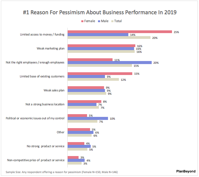 SMB Business Owner Report-Top Reason for Pessimism Men versus Women