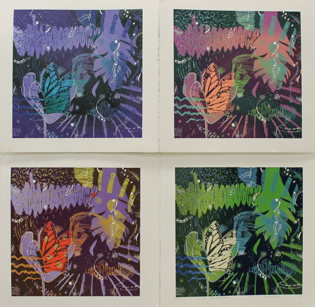 These are 4 out of 8 prints from this varied edition series.