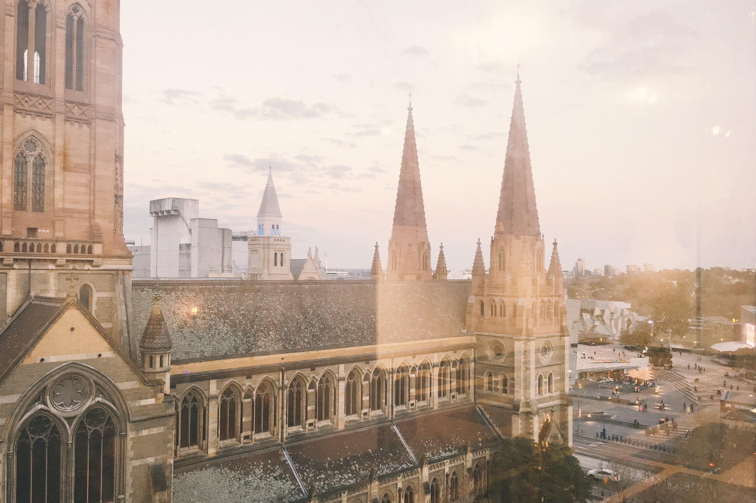 View of St Paul Cathedral from Little Mandarin Yoga Studio Melbourne