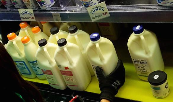 Photo:   Raw milk on shelves of health food stores around Melbourne