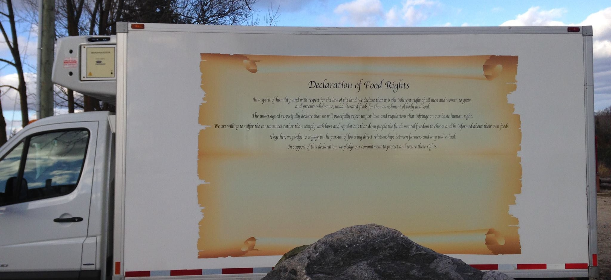 Declaration of Food rights printed on the side of a refrigerated truck, ready to be signed later today at the Ontario Legislature Parliament Building, Toronto by Glencolton farm share holders.
