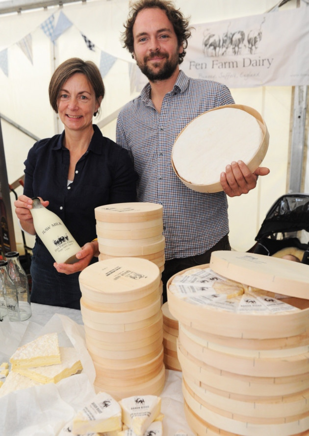 The Aldeburgh food and drink festival at Snape Maltings Jonny Crickmore and cheesemaker, Julie Cheyney.  Source:  Fresh, local and dairy good