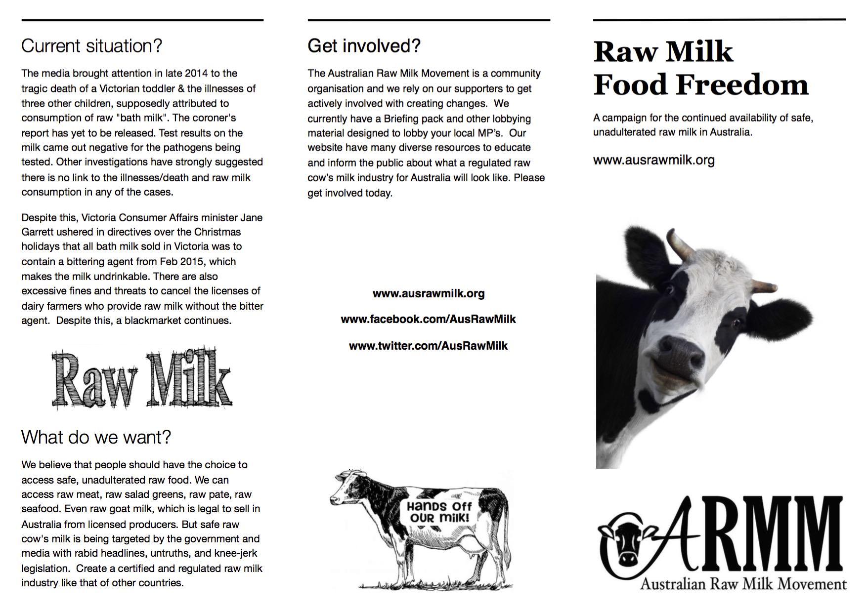 raw milk campaign brochure australian raw milk movement