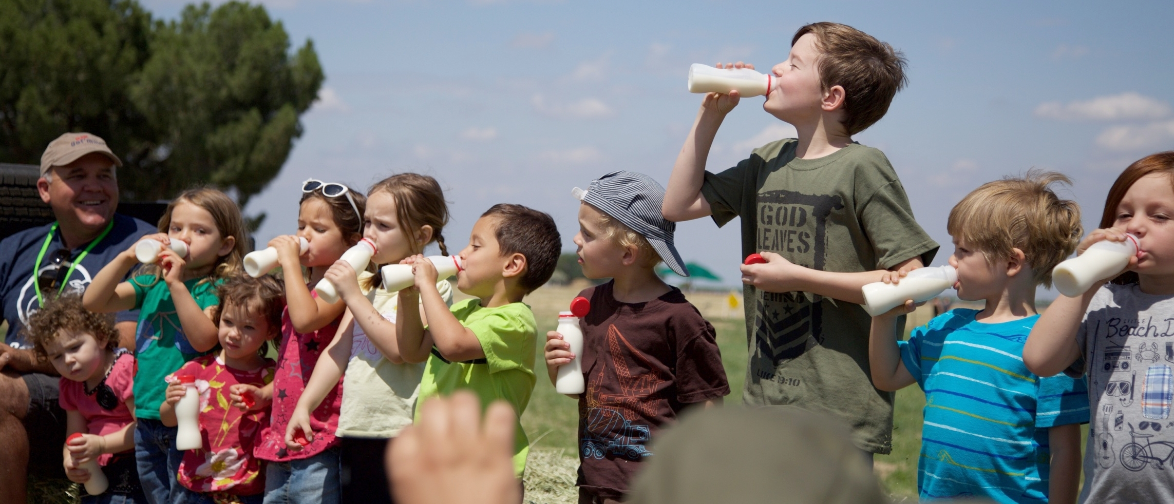 Photo:   Kids enjoying their raw milk from  Organic Pastures dairy  with Mark McAfee, chairman of the  Raw Milk Institute . Raw milk has always been legal in California, USA.