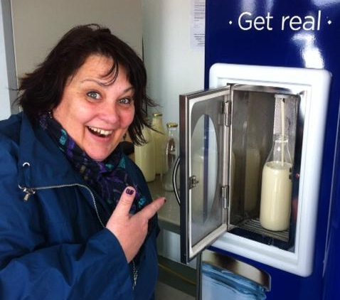 Photo:   A raw milk vending machine at the farm gate in New Zealand. Click on images to enlarge.