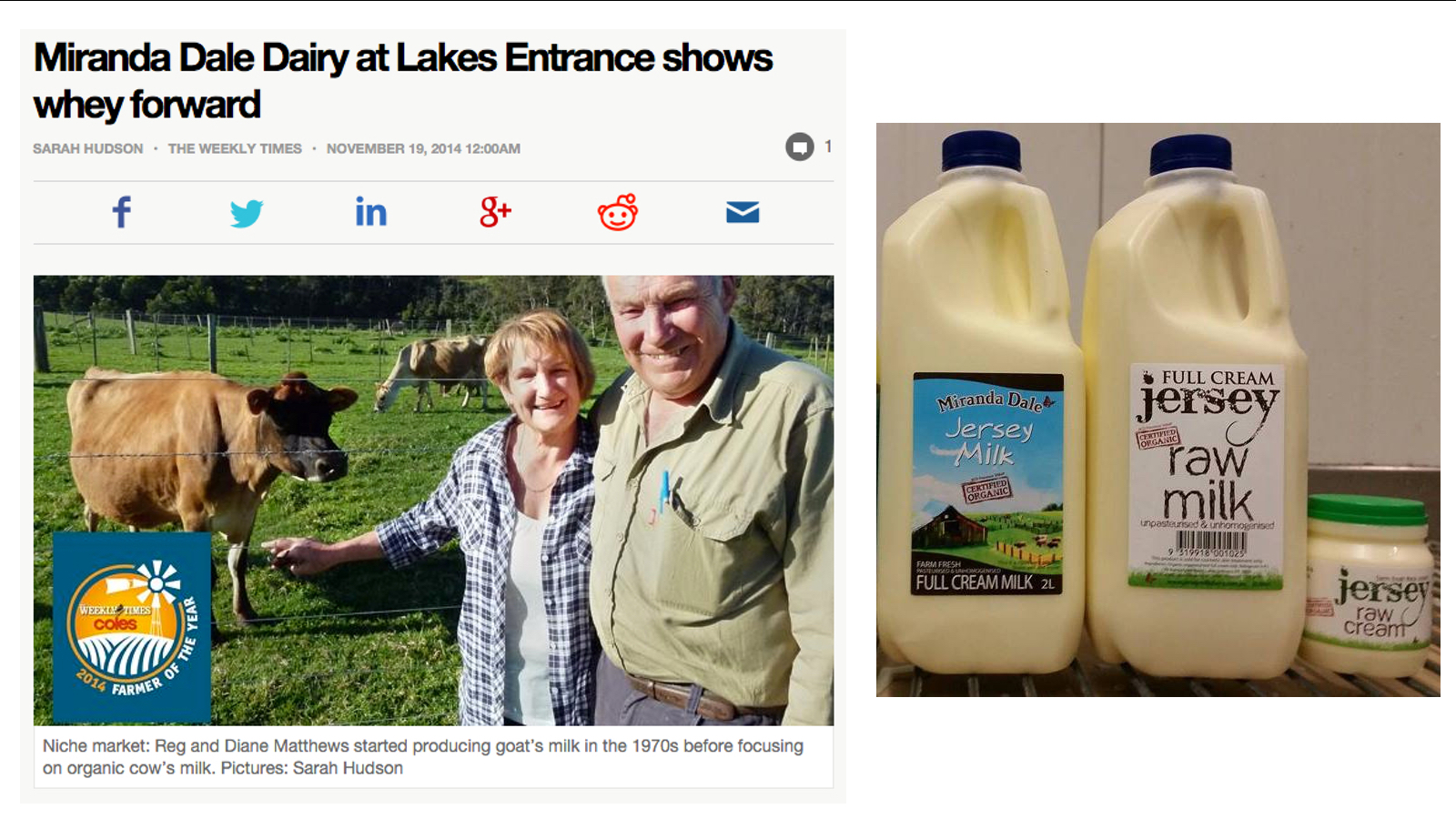 An article about Miranda Dale raw milk