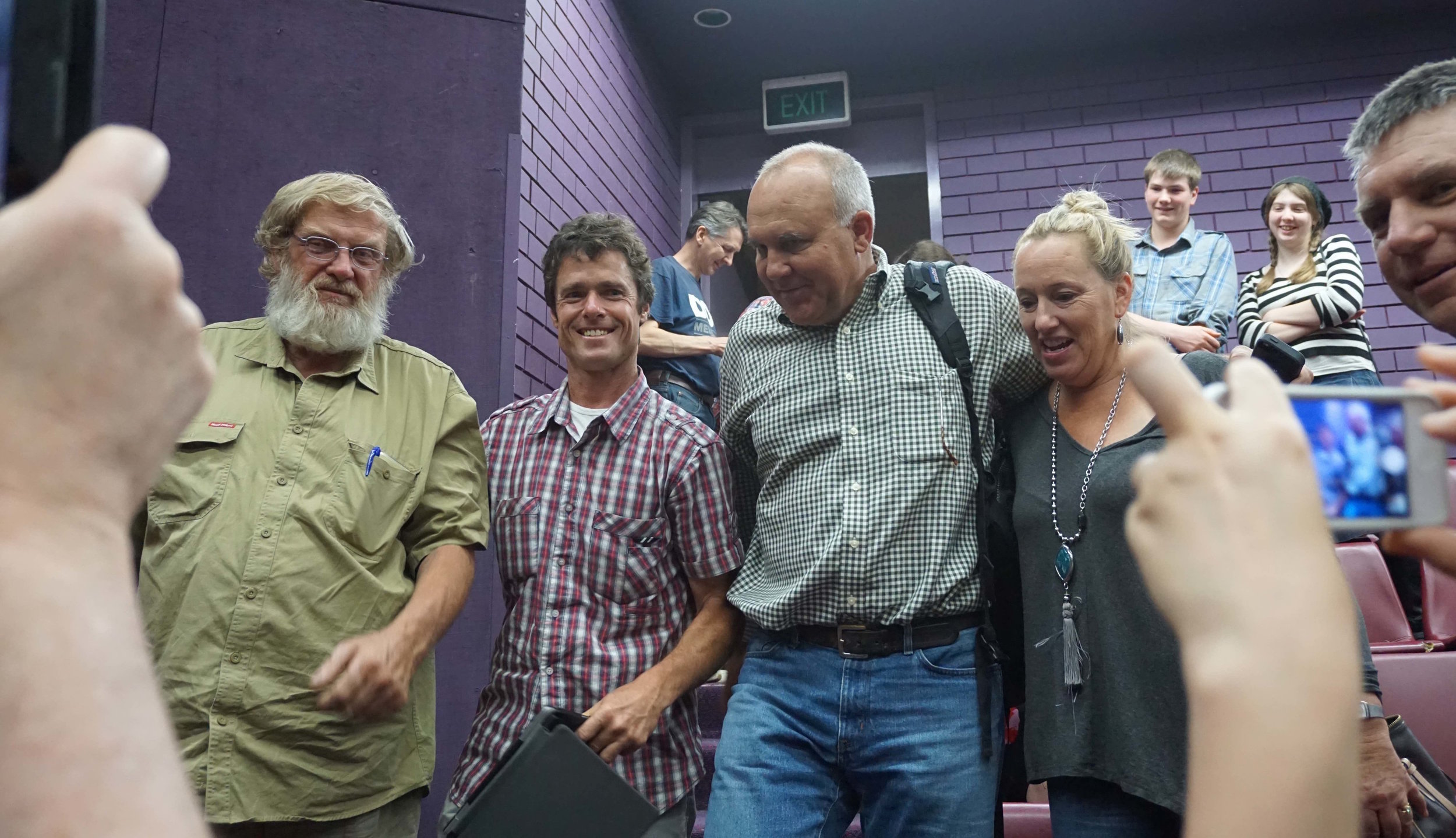 Swampy, Mark & Blaine McAfee pose for photos with raw milk supporters
