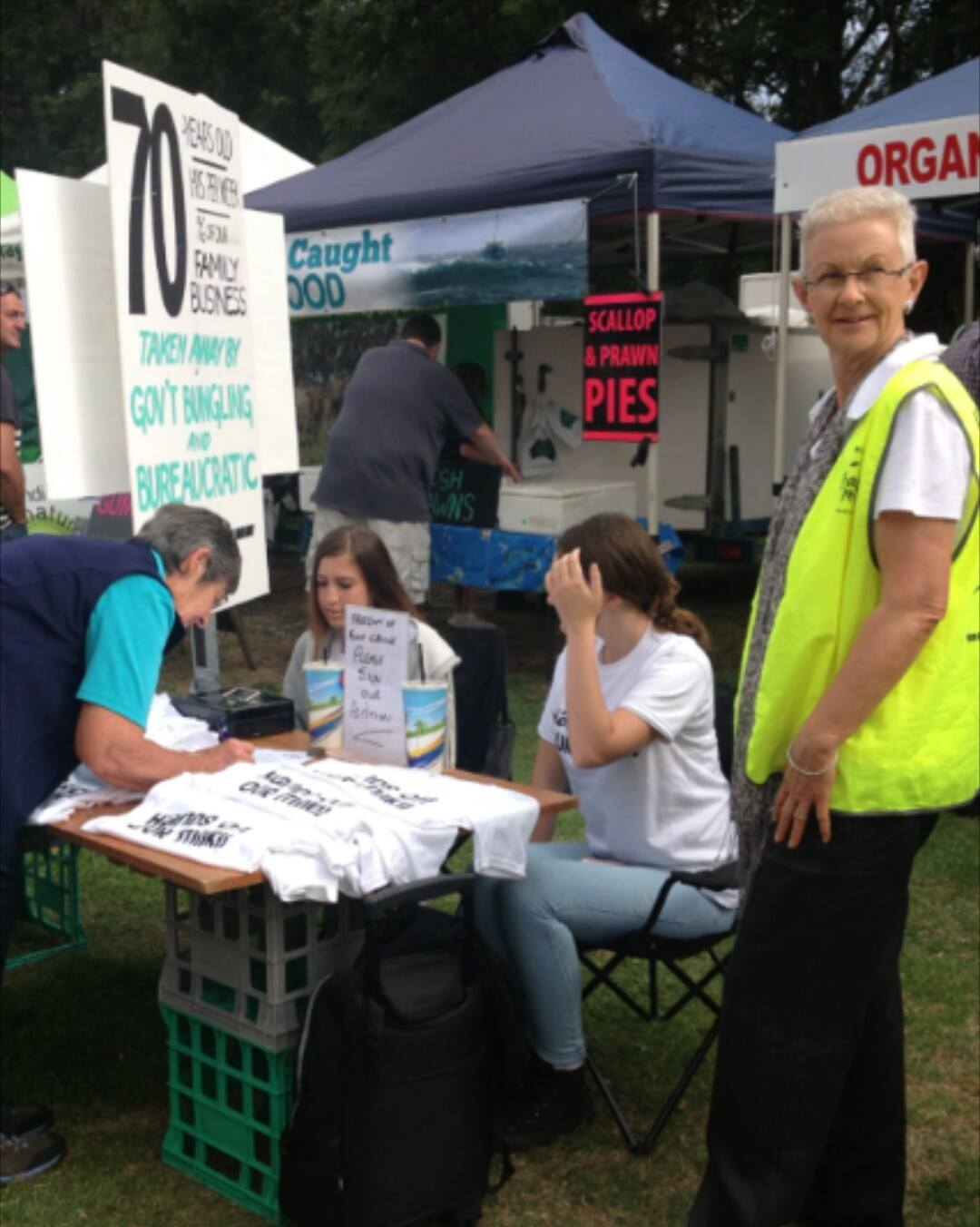 Collecting signatures for the petition at a farmers market in Gippsland