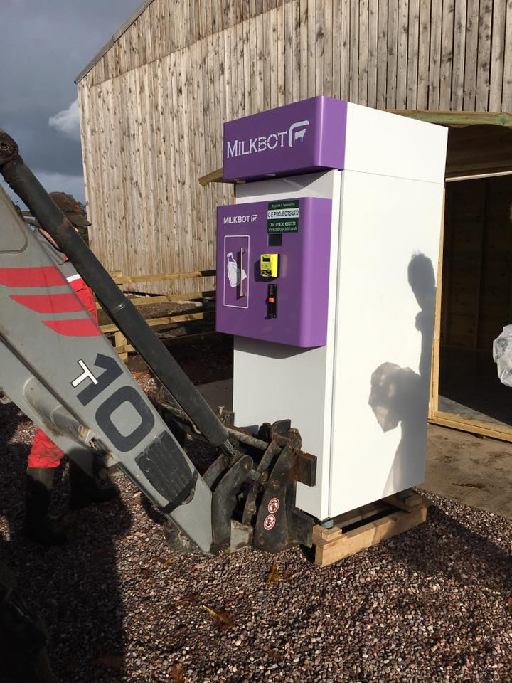 Photo:    the raw milk vending machine was delivered in November 2016 on a pallet.