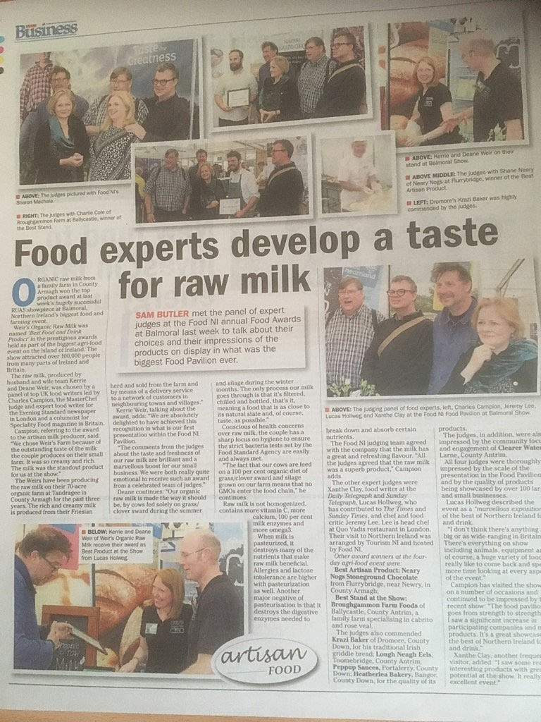 Image:   Raw milk from Weir's Farm won a food  award  in May 2017, via  Sam Butler , click to enlarge