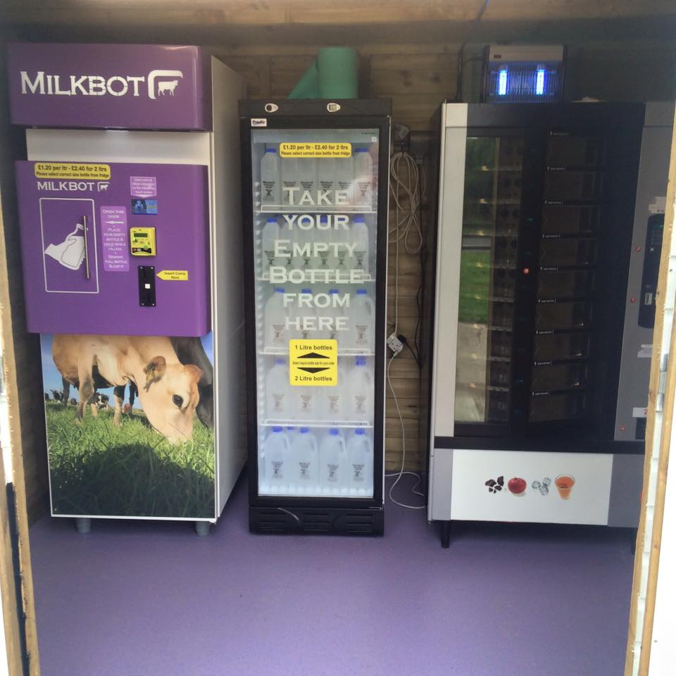 Image:    the Milkbot vends raw milk. The vending machine on the right vends free-range eggs.
