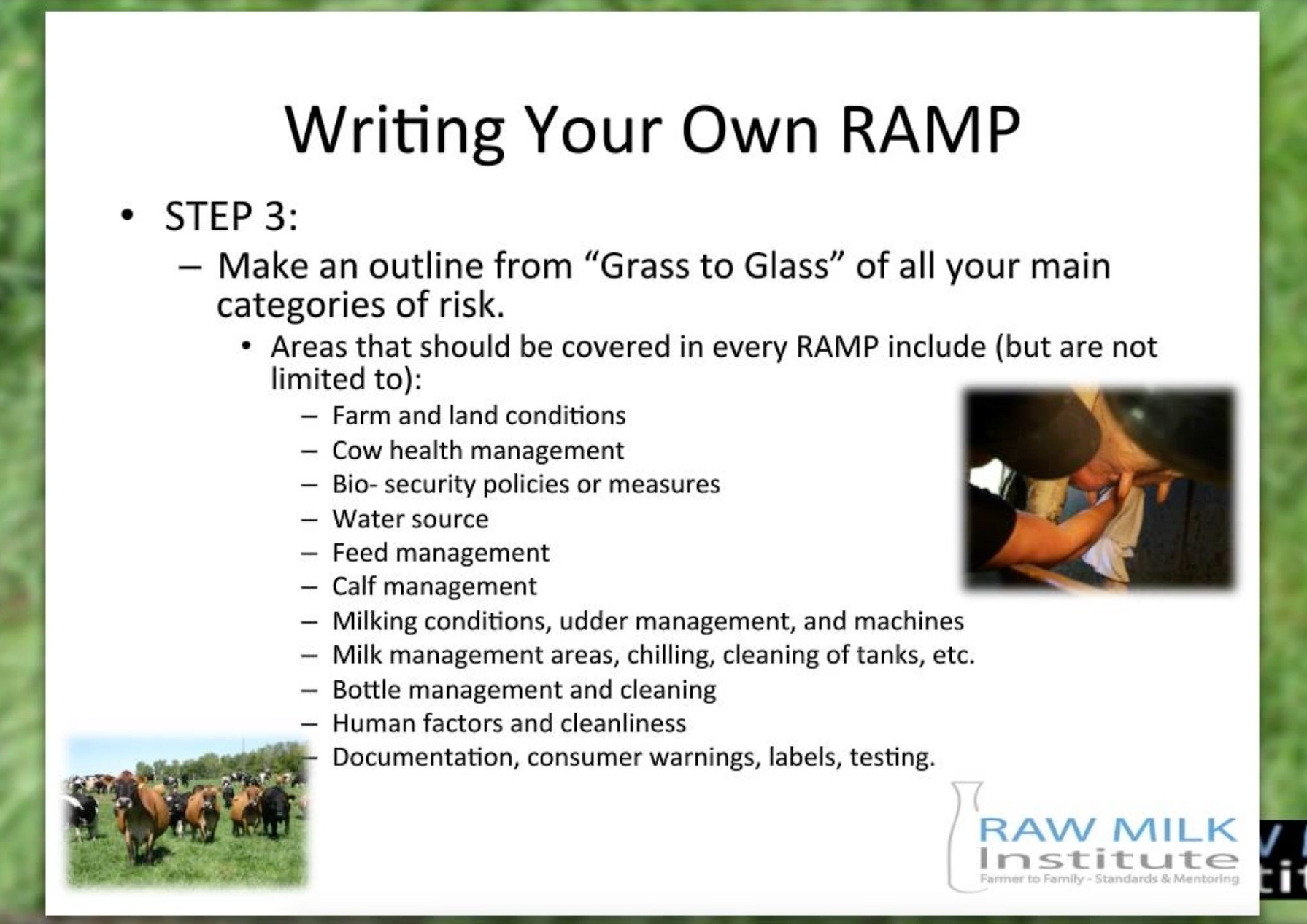 Image:   a snapshot from the Write your own RAMP webinar showing the areas that should be included in every RAMP, click to enlarge image.