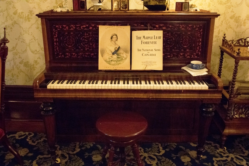 Piano    Super-sized adoptable, $800 donation   Once upon a time, people had to make their own entertainment. Often, this burden was placed on young women of quality like Lady Macdonald and Daisy Macdonald, who would have learned how to sing and play the piano as a part of their educations. This piano was made by the Kirkman company in England in the 1880s. This is the same company that made Thomas Jefferson's harpsichord in the 1780s. Unfortunately, the soundboard on our piano is cracked, so adoption does not include serenading Dalnavert staff, volunteers, visitors, etc.