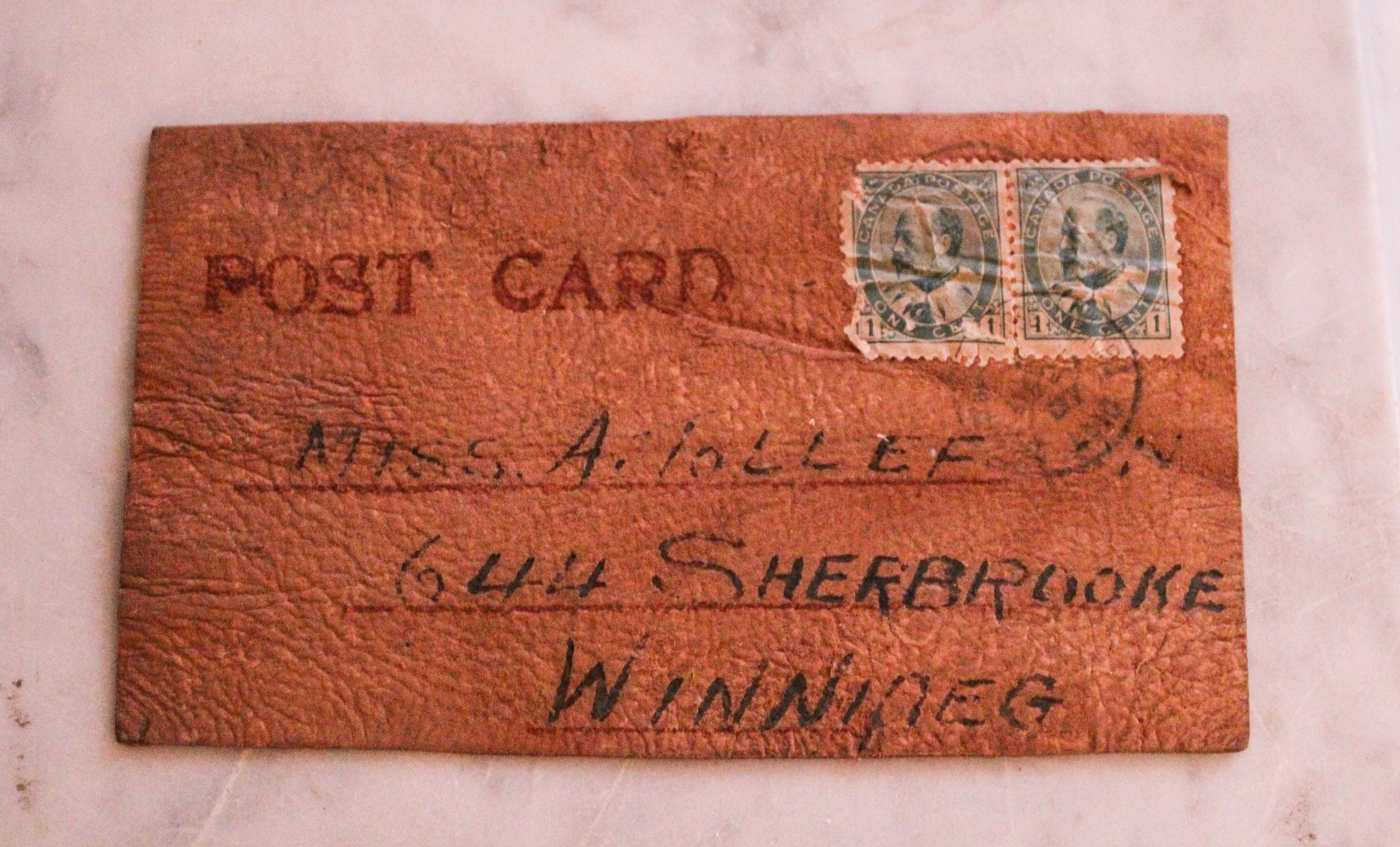 Reverse of postcard with the lucky lady's address (that's King Edward VII, Queen Victoria's son, on the stamps).