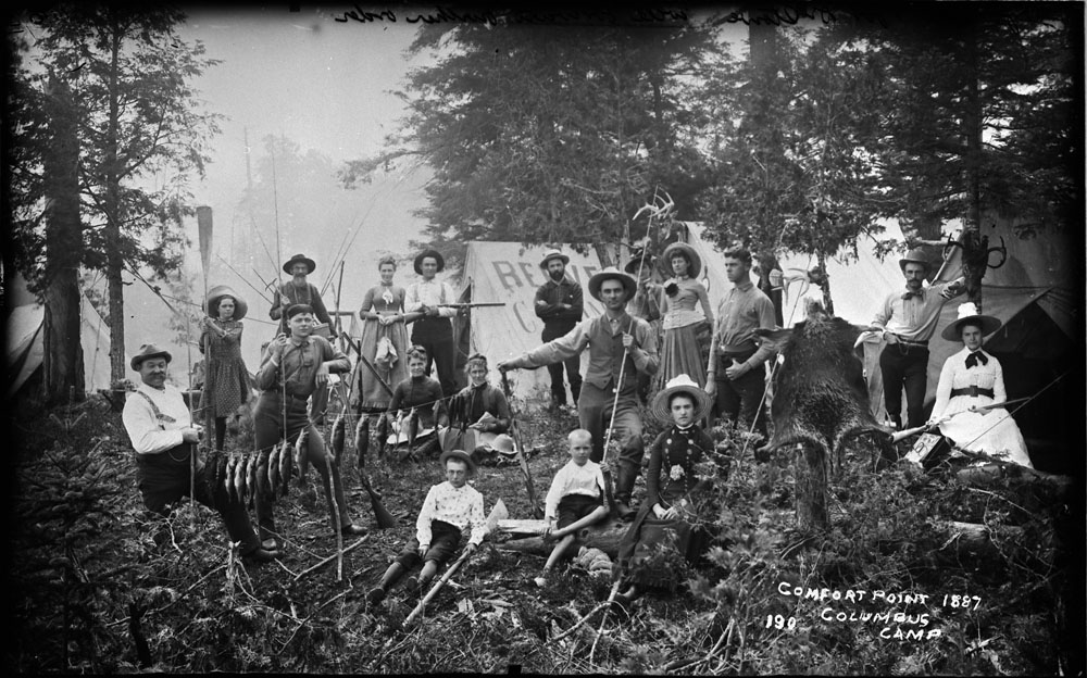 Campers and game at Comfort Point, Columbus Camp, Muskoka Lakes, Ont., 1887. (Library and Archives Canada)