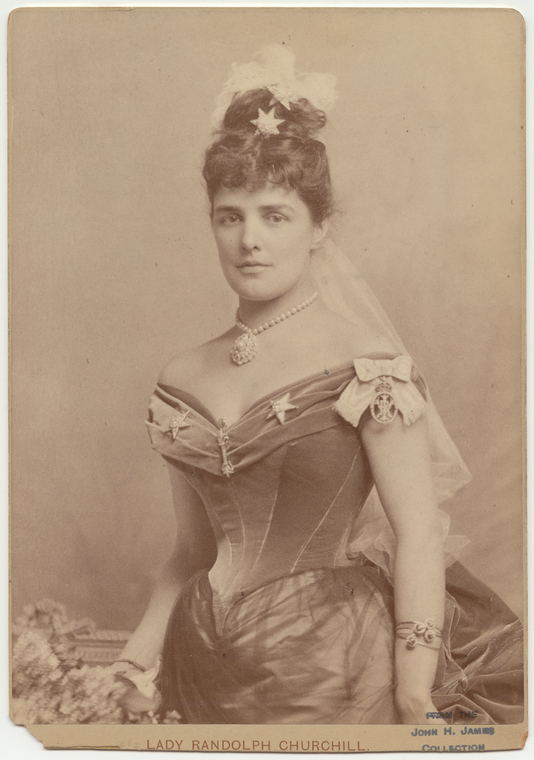 Lady Randolph Churchill with her tattoo on her left arm, hidden beneath several bracelets.
