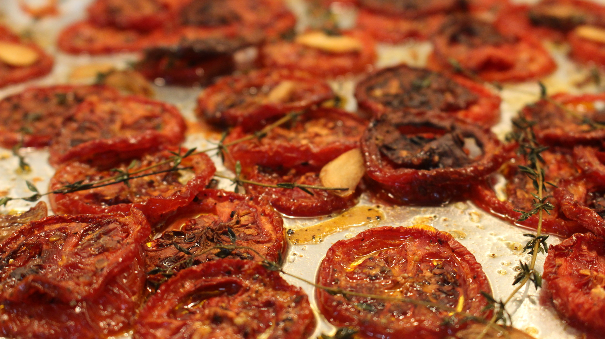 Roasted tomatoes for our beautiful salad already prepped!