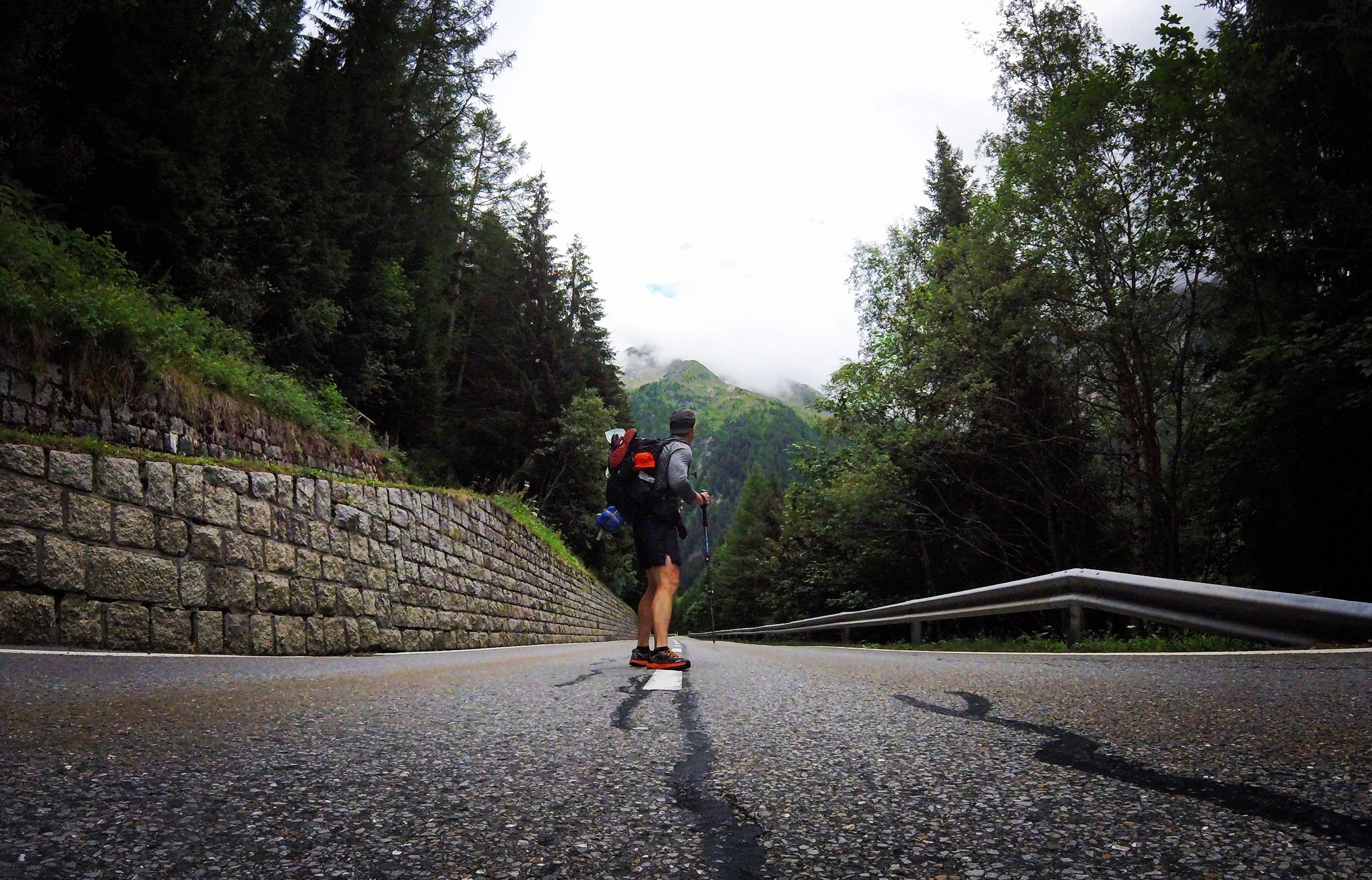 Day 2:   Trient, Valais   The descent to camp passes Route de la Forclaz, turning southern peaks into a breif history.