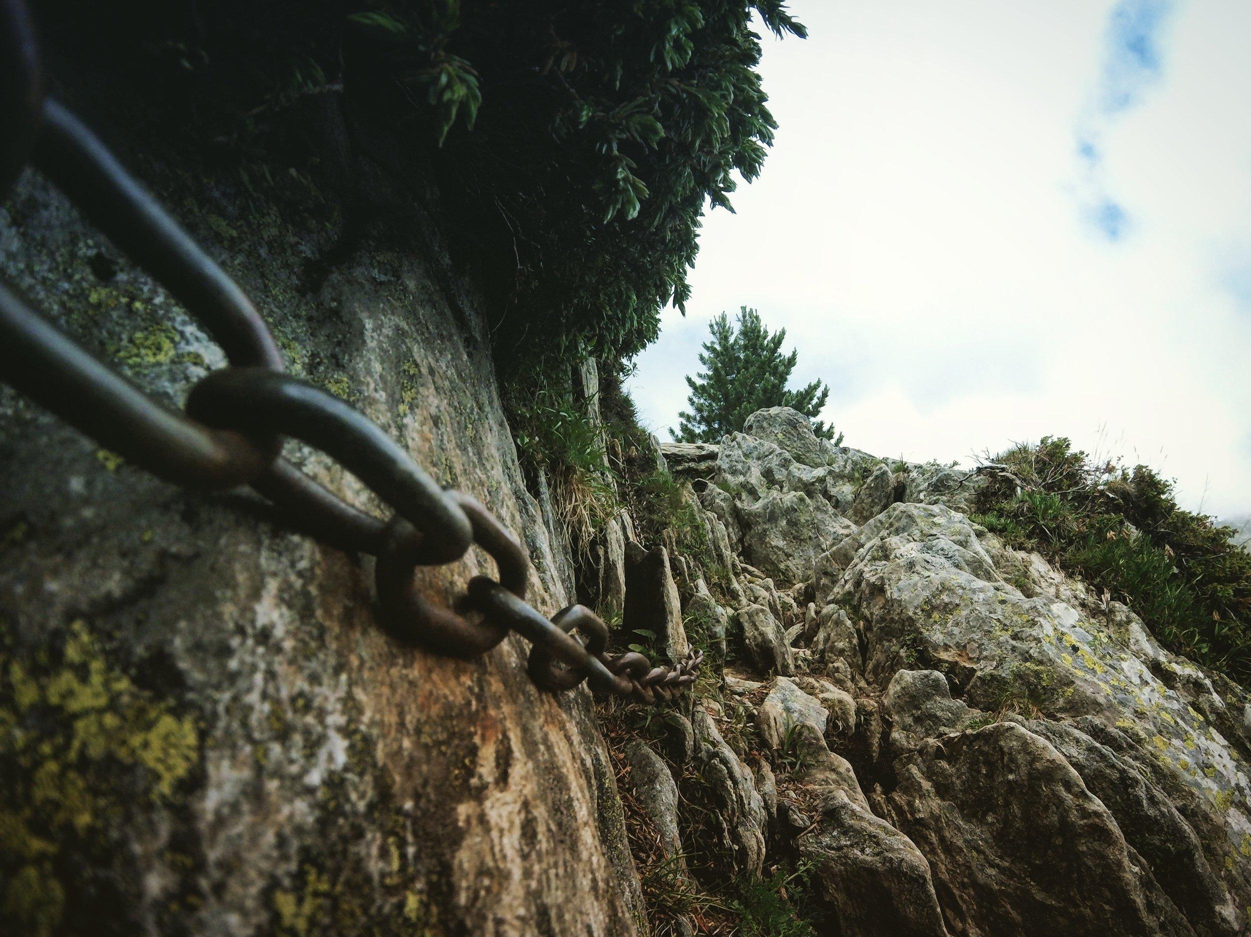 Day 3:   Col de la Forclaz   Breaks in the clouds not in the chains. The trail narrows towards Col de la Forclaz.