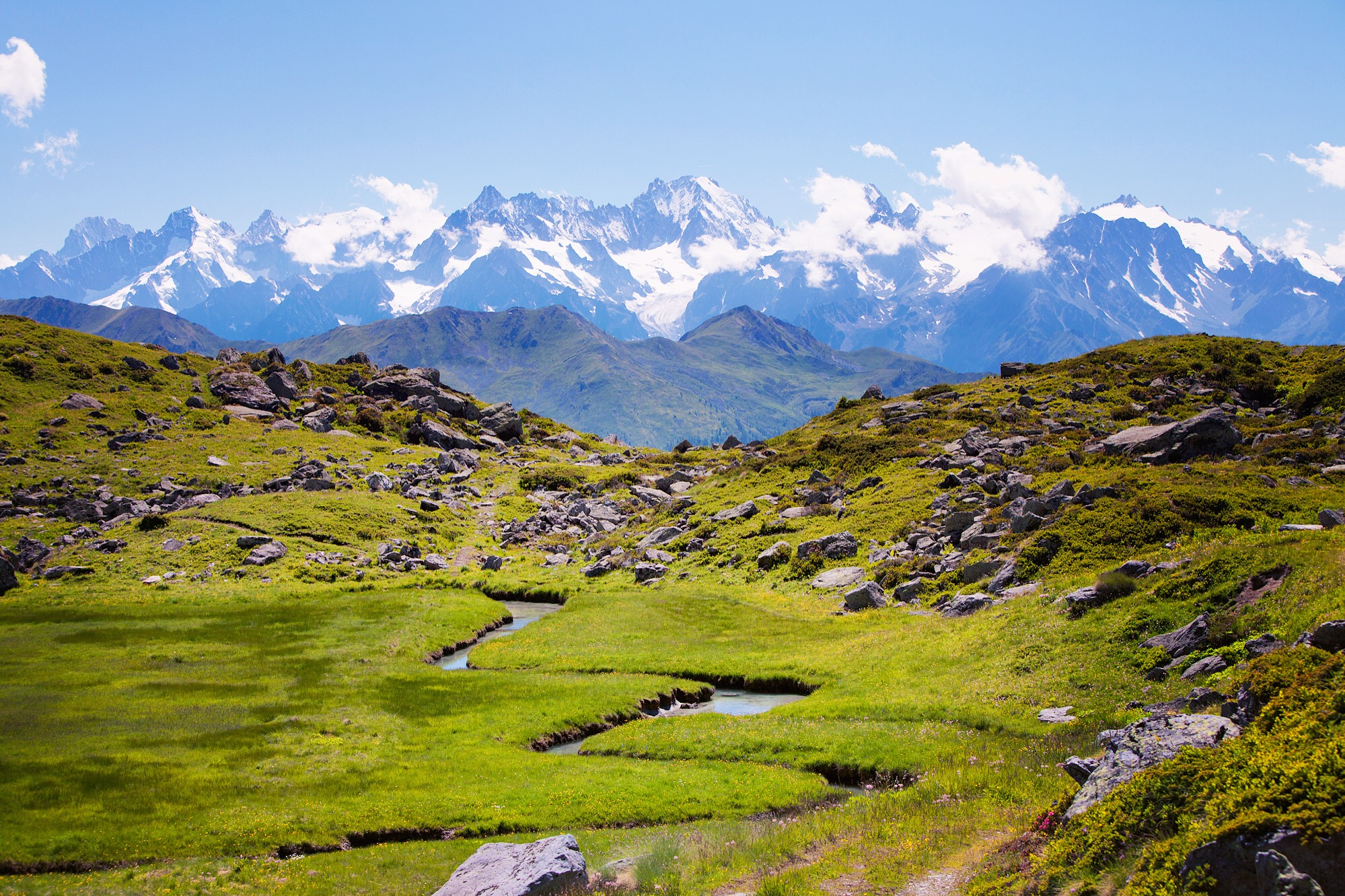 Day 4:   Cabane Mont Fort   Lost circling a valley descent from Cabane du Mont Fort after taking the long way up through Verbier. The spectacular panorama of the Mont Blanc massif and winding river fed by Glacier de Tortin echoes purpose to an off-foot.