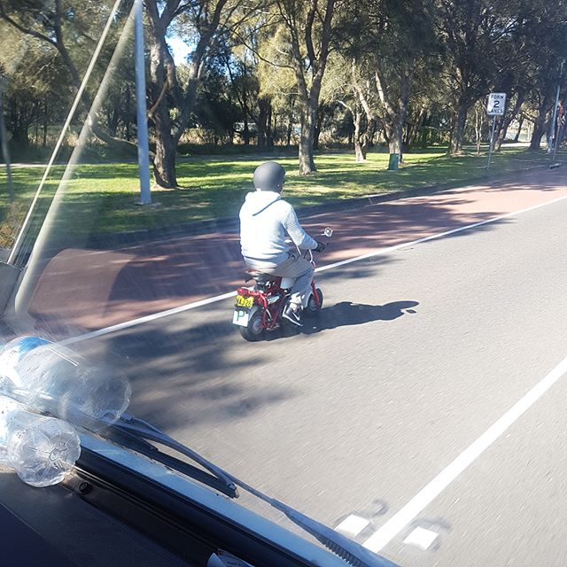 """Snapped this legend tearing  through Narrabeen this morning, we love ourselves a bit of ingenuity. """"Traded the van for it straight up… I can get 70 miles to the gallon on this hog. """" #fridayfeels #dumbanddumber #lloydnoharry"""