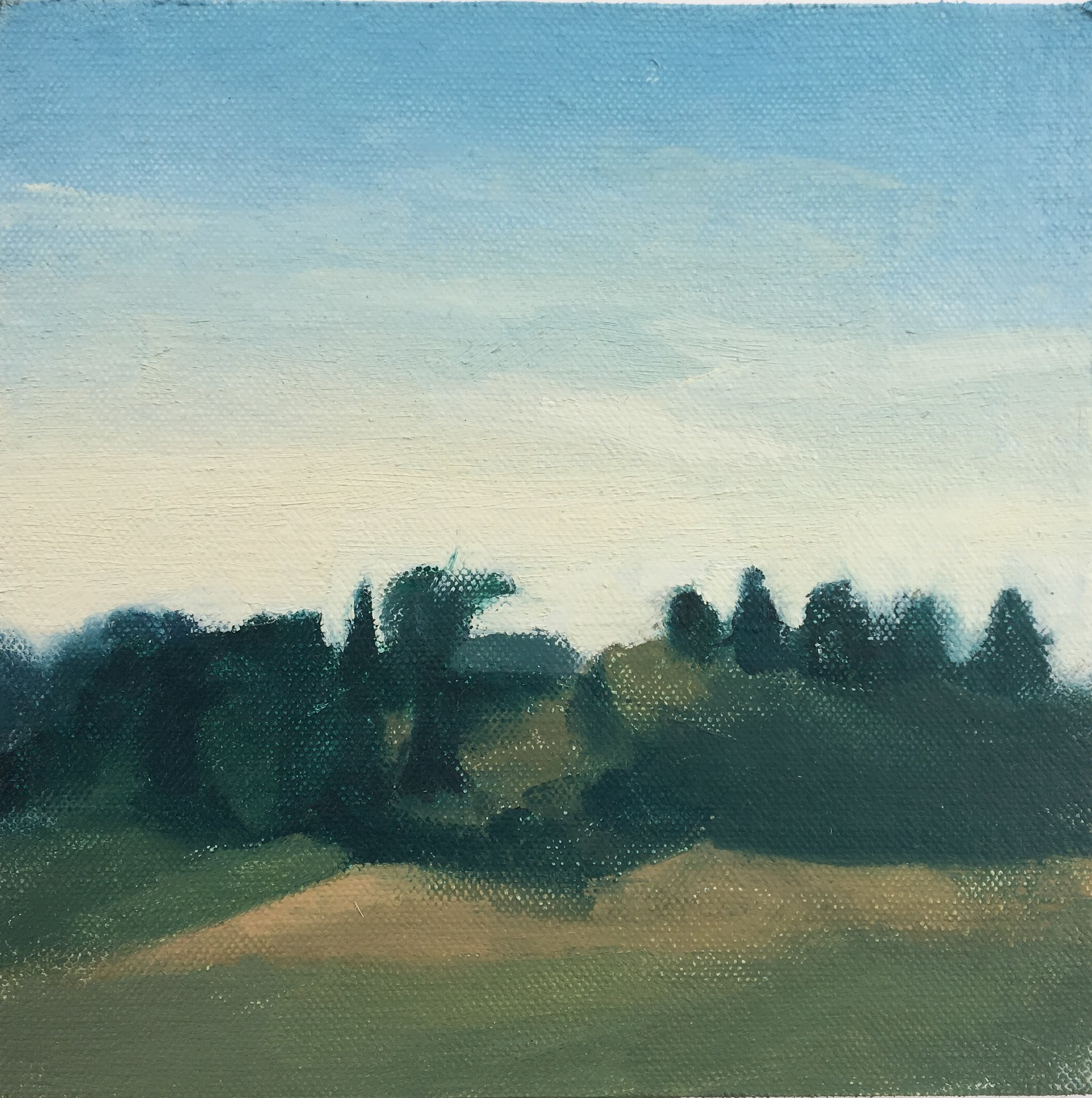 """Hill in Ferndale"" 6"" x 6"" oil on canvas mounted on board"