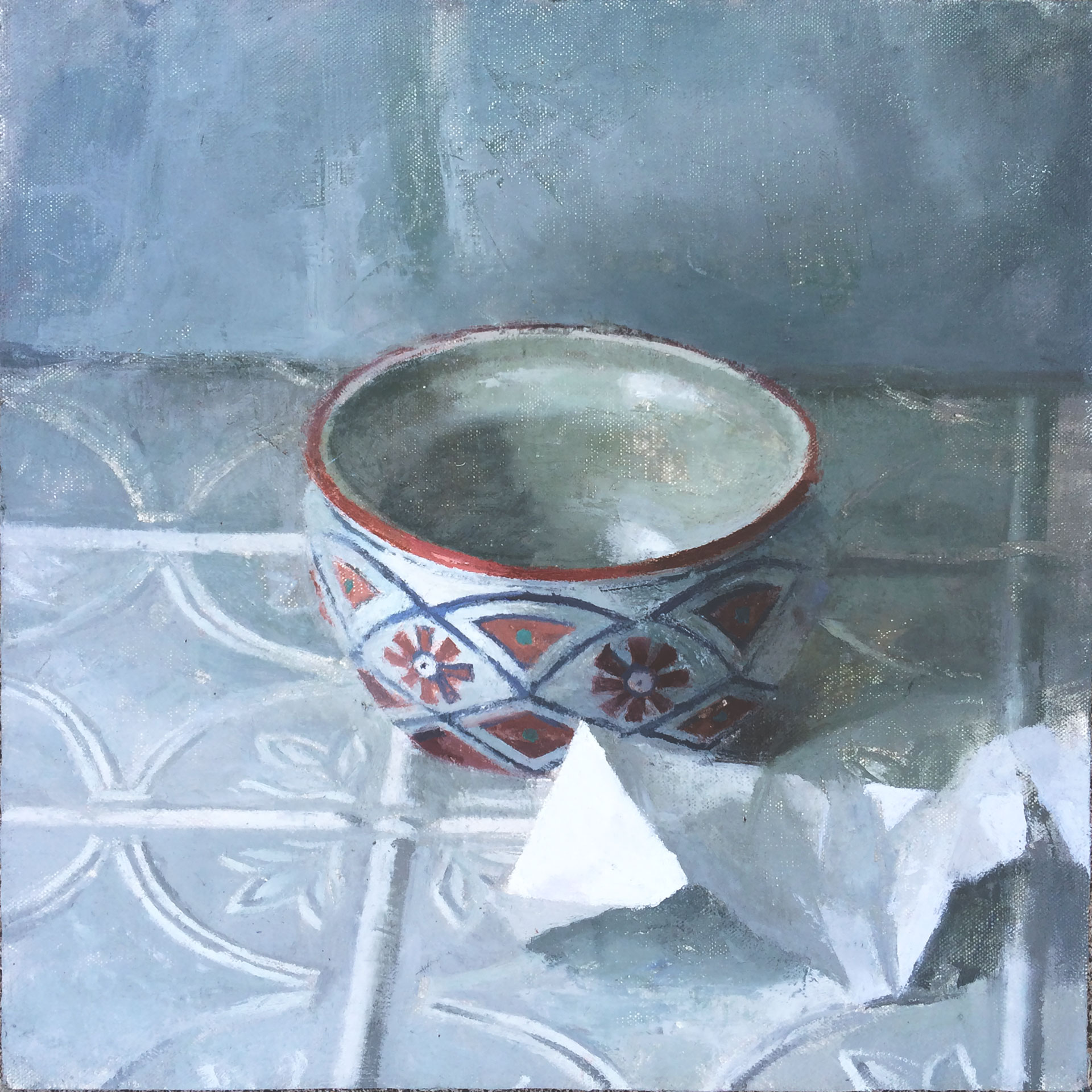 """Yolanda's Bowl"" 12"" x 12"" oil on canvas mounted on board"