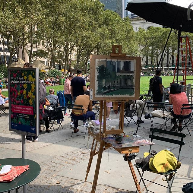 I finished my residency at Bryant park about a week ago now. Here is a selection of some of the pieces done at the park. Mostly paintings with some sketches and a watercolor (done in the rain - can you see the raindrops? :-) The weather was mostly cloudy during my time there which can probably be seen in the work. . I feel incredibly grateful toward Bryant Park for being given this opportunity! It was an extraordinary experience getting to paint in midtown Manhattan as well as seeing more of the city. Though was most wonderful of all getting to spend time with family after finishing each painting day. . The residency provided a much needed break from my usual studio environment. Now am quite ready to be back working in my own space - without the distraction of being in downtown New York ;-)