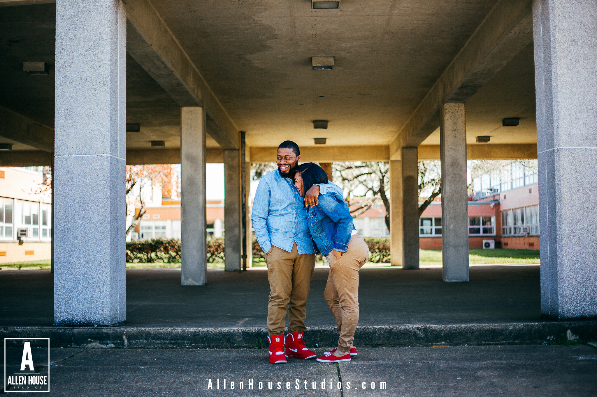Time really does fly. Recently I had the pleasure of photographing J and Totiyana for their engagement session. The cool thing about capturing their photos is that I've known them both for just a little over 10 years now! We all went to the greatest high school in Delaware of course Christiana High. Back then I would've never thought that I'd be a photographer taking photos of weddings all over the world. We have all have a pretty decent relationship with one another so taking their photos was a piece of cake. I had the idea that since it's where they both met that it'd be a great idea to go back on Christiana High School grounds and do half of their session there. I'd say we did more laughing and talking more about old school memories than we actually did shooting. Once we left Christiana they changed outfits and then we headed to Philadelphia to finish the session. I had a great time and you can tell that they love to laugh by looking at their photos.