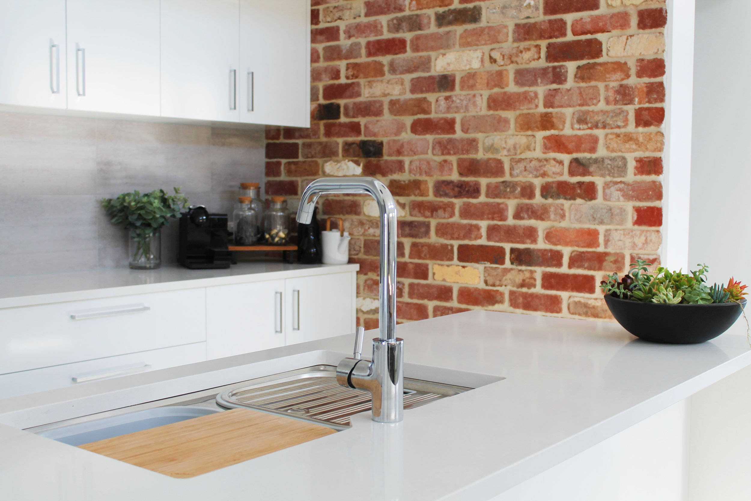 Industrial Styled Kitchen - Recycled Red Brick Exposed
