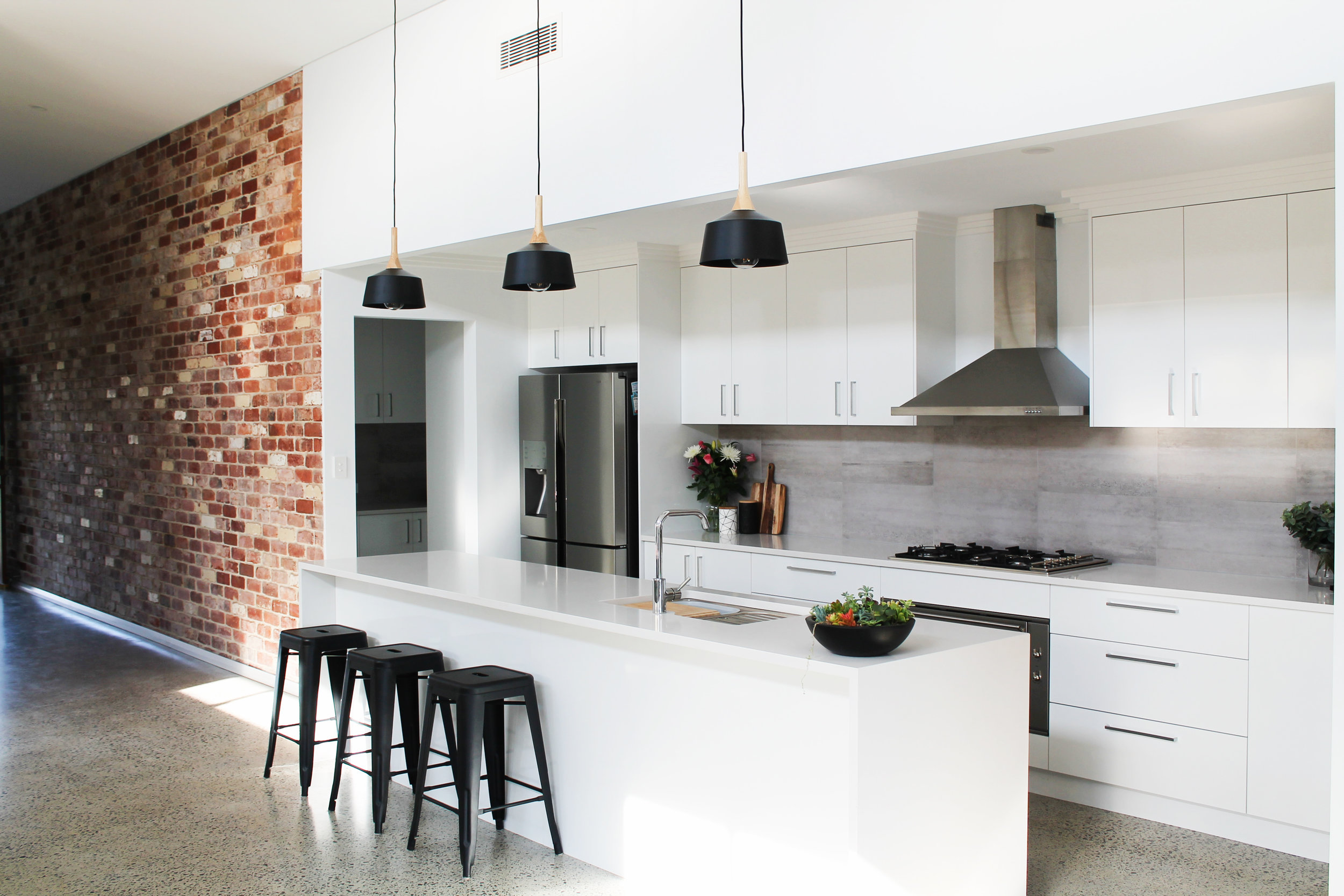 Industrial styled kitchen - Recycled Red Brick