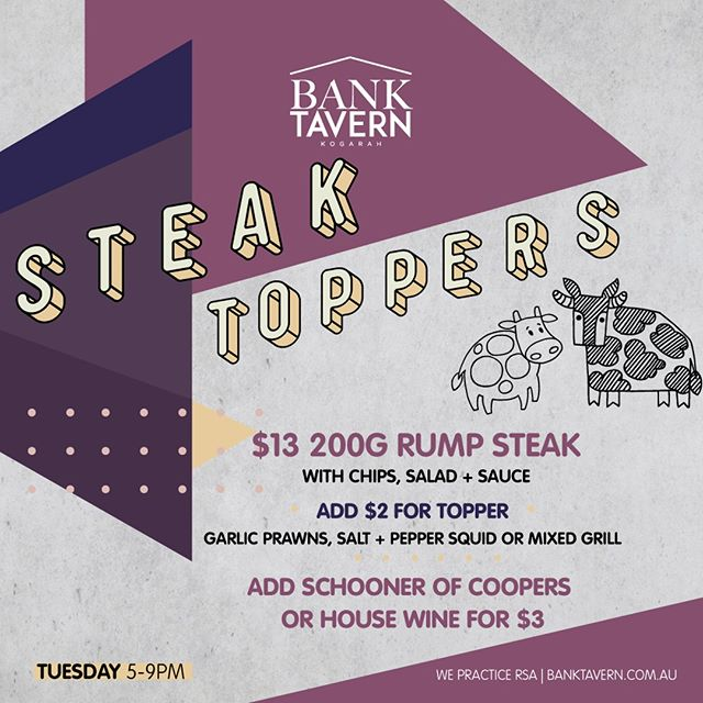Join us tonight for our $13 Steak Special! Or add a delicious topper to your steak for $2! 🥩🦐🍟🥗 . . . . #banktavernkogarah #banktavern #banktav #kogarah #stgeorge #sydneypubs #sydneyeats #sydneyfoodie #delicious #yummy #friends #food #value #deal #savings #save
