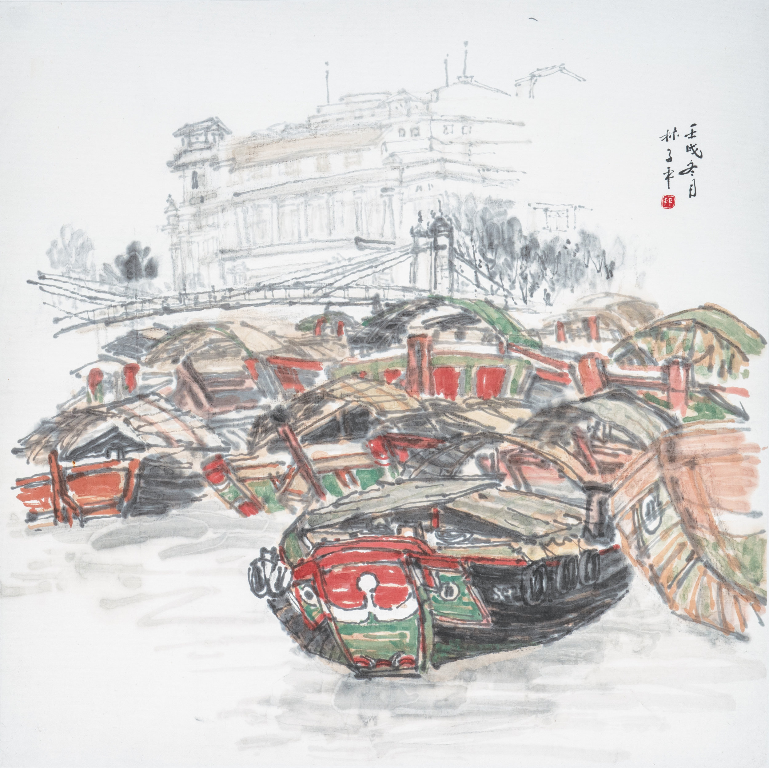 Pg 48 Singapore River Scene, Chinese ink and colour on paper, 67 x 67 cm (2).jpg