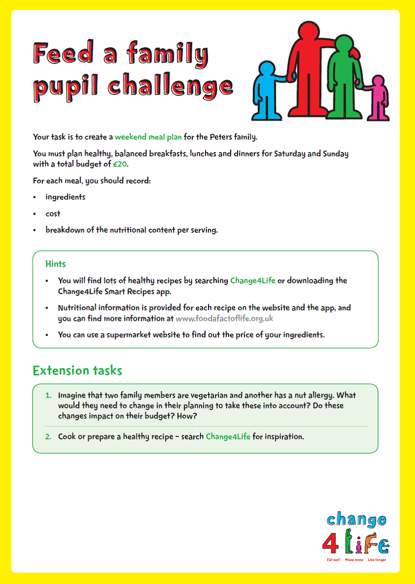 C4L - Our Healthy Year - Yr6 -Feed a Family Pupil