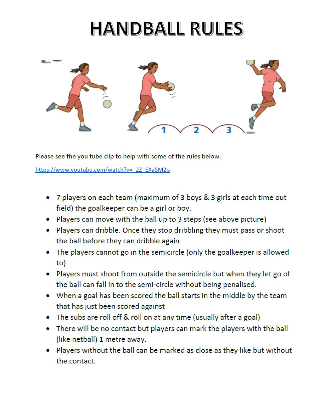 MSSA- Handball Rules