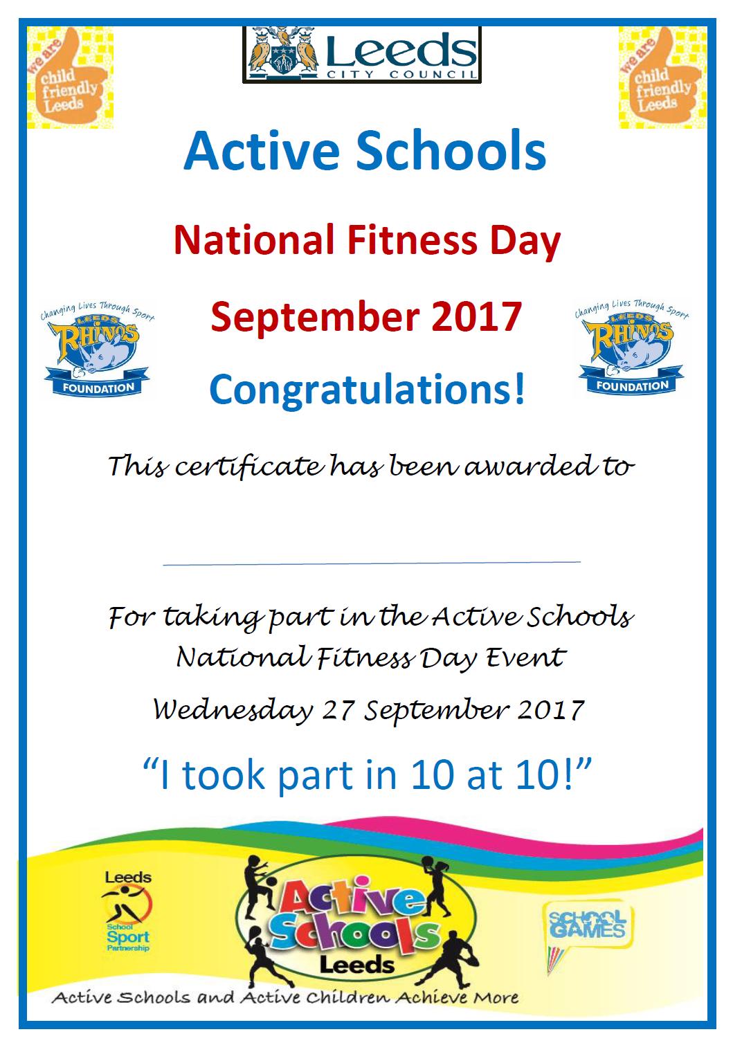 ACTIVE SCHOOLS - NFD Certificate